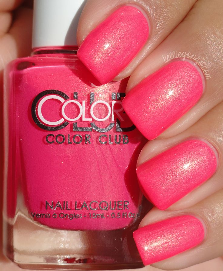 "Color Club - Peace, Love & Polish Electric pink with a gold shimmer | A nice "" pick me up"" color."