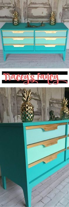 Ocean-inspired Gold & Teal Dresser Mid Century Mod Furniture Makeover - Perfect for Storing Your Mermaid Tails! By Tracey's Fancy