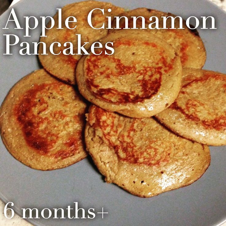 APPLE CINNAMON PANCAKES (6 months and up). 1 small ripe banana, 1 small apple (proportionate in size to the banana!)(peeled and cored), 2 eggs, 1/2 tsp ground cinnamon, 2 tbsp instant oats, butter or oil for frying. 1⃣In a blender or food processor, combine all ingredients! 2⃣Heat the butter or oil on medium-low heat. 3⃣Pour the mixture into the pan and flip after 4-5 minutes. Cook another 2-3 minutes on the other side!️⭐️⭐️⭐️TIPS: Low heat. Slick pan. And making them smaller helps with…