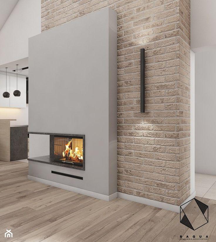 (Tarnowskie Góry) Projekt domu jednorodzinnego 14 - Mały salon z kuchnią, styl nowoczesny - zdjęcie od BAGUA Pracownia Architektury Wnętrz