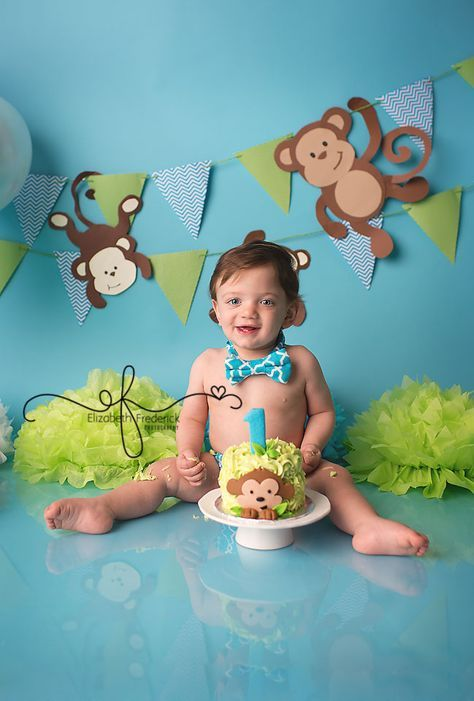 Blue & Green Monkey Smash Cake Photography Session | First Birthday party idea | First Birthday Portraits | CT Smash Cake Photographer | www. elizabethfrederickphotography.com CT Newborn Photographer Elizabeth Frederick Photography specializing in CT Newborn, CT Baby, CT Wedding & CT Maternity Photography.