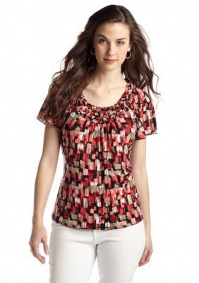 New Directions  Petite Flutter Sleeve Popcorn Smocking Top