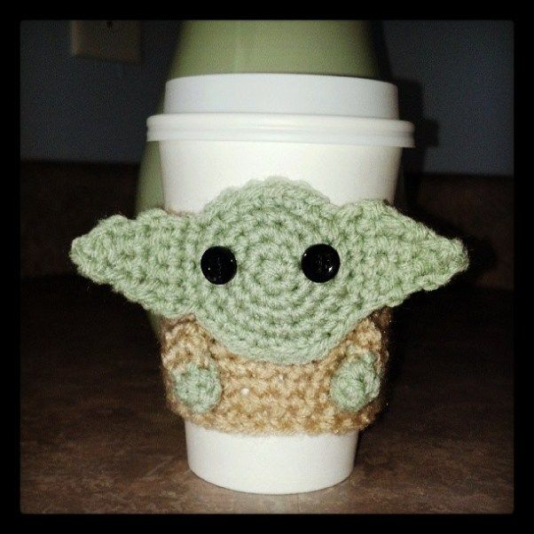 A fun project! Yoda Cup Cozy Knitting Pattern. May the force be with you!