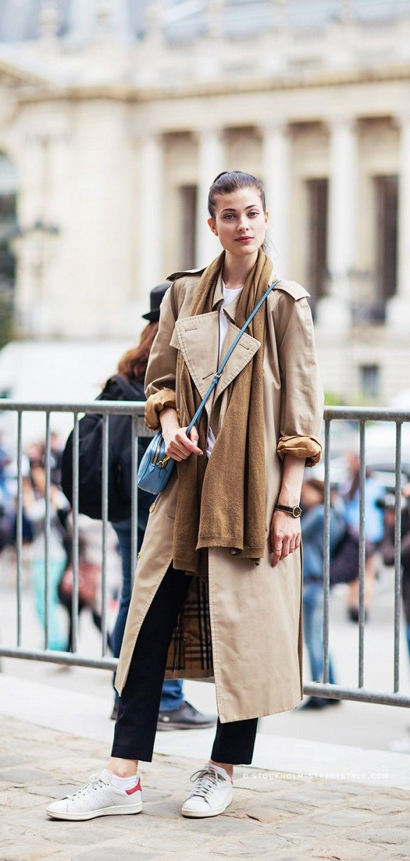 scarf with trench coat, sneakers | model Larissa Hofmann | 15 Ways To Look Cool Instantly via @WhoWhatWear