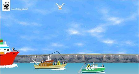 Ympäristökasvatus - Lokkien kosto-peli - Liiallinen kalastus uhkaa maailman meriä. Jos kalastuksessa ei oteta luontoa huomioon, kalat loppuvat. Lentele ryöstökalastajien ylle ja tipauta jätökset heidän niskaansa. Eiköhän ryöstökalastajat ja päättäjät sen jälkeen muista, että luontoa pitää suojella. - WWF