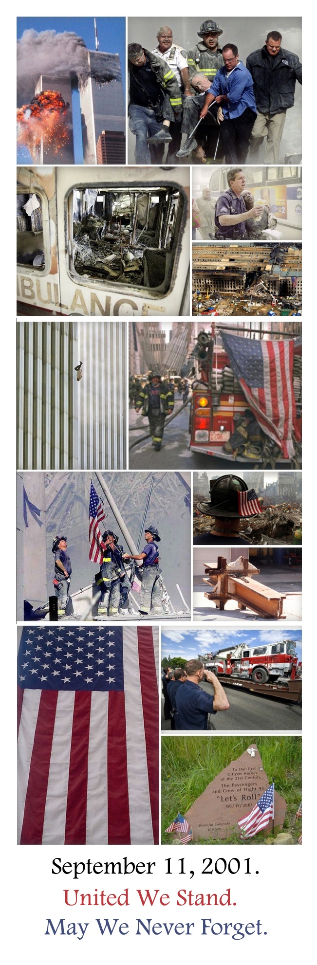 God bless the victims of 9/11, their families, and those who so courageously gave their service, and some the ultimate sacrifice, in the rescue effort and aftermath. God bless America and never forget 9/11 or what we are currently, and always will be, fighting to protect.