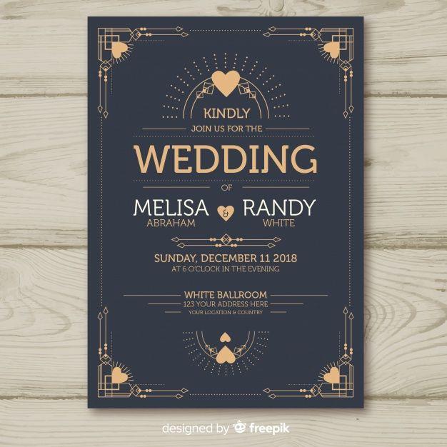 Download Wedding Invitation Template With Decorative Art Deco