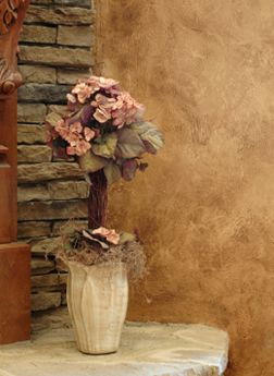 Rustic faux finish and stone walls