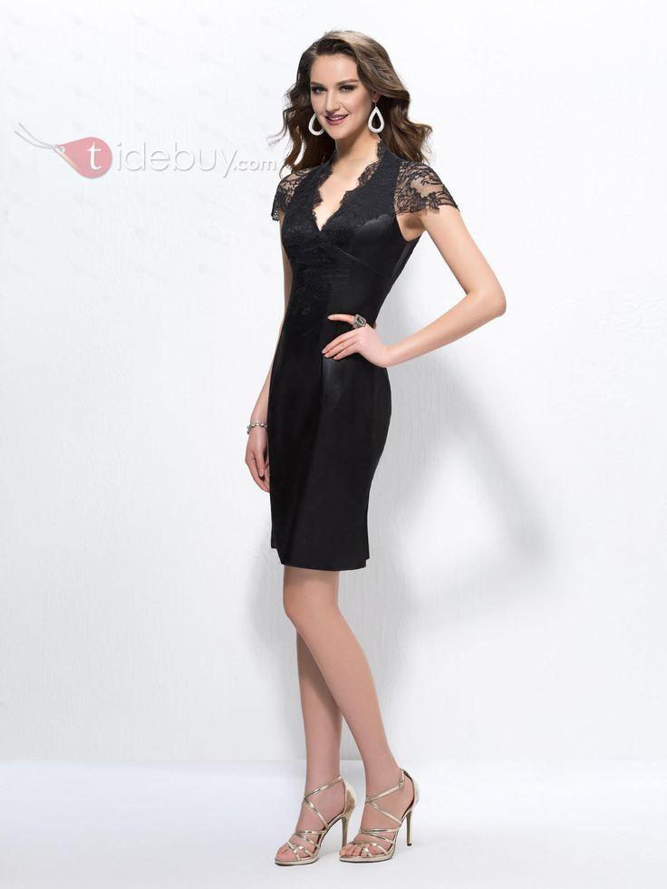 シースアップリケ半袖プロムドレス