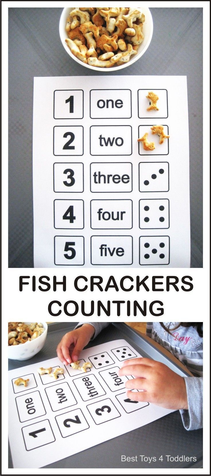 Sing One Two Three Four Five nursery rhyme and count with fish crackers! FREE PRINTABLE counting sheet available for download on the blog.