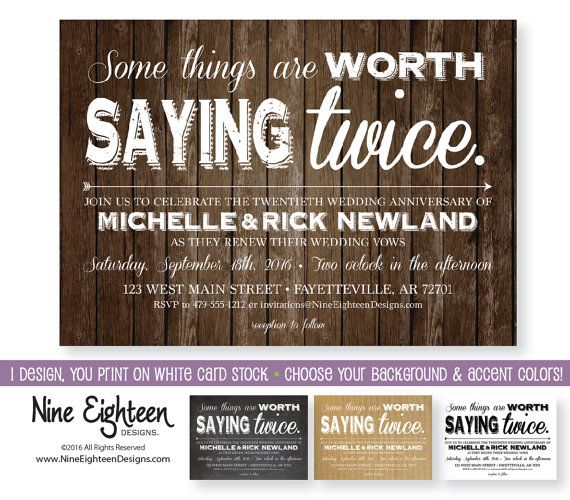 19 best wedding vow renewal invitations images on pinterest happy vow renewal invitation some things are worth saying twice customized pdf jpg included i design you print fandeluxe Image collections