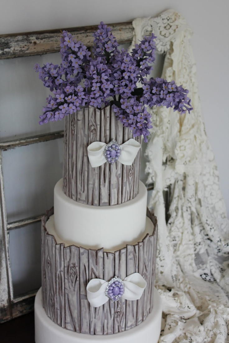 Shabby Chic and lilac inspired cake designed and created by Veronica Arthur for Cake Central Magazine. For this design I created a new technique which replicates old weathered wood with peeling paint. It is entirely edible!  The old weathered window prop is from an old South Carolina farm house built in 1914. The tattered lace table cloth belonged to my husband's great grandmother.  Photos and styling by Veronica Arthur. ~With Love & ConfectionCake Cupcakes Decor, Weather Wood, Cake Ideas, Cake Inspiration, Cake Decor, Amazing Cake, Central Magazines, Wedding Cake, Cake Central