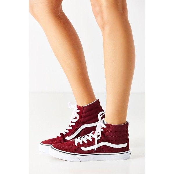Vans Sk8-Hi Slim Sneaker ($55) ❤ liked on Polyvore featuring shoes, sneakers, maroon high tops, vans sneakers, cushioned shoes, high top shoes and high top sneakers