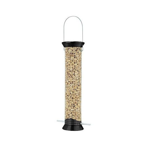 Droll Yankees New Generation 13 Peanut Feeder ($31) ❤ liked on Polyvore featuring home, outdoors, outdoor decor, black, squirrel feeder, squirrel bird feeder, bird feeders, black hangers and bird seed feeders
