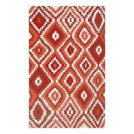 Indoor/outdoor rug with a Southwestern-inspired diamond motif.  Product: RugConstruction Material: Poly-AcrylicColor: Red, orange and whiteFeatures: Suitable for indoor and outdoor use Note: Please be aware that actual colors may vary from those shown on your screen. Accent rugs may also not show the entire pattern that the corresponding area rugs have.Cleaning and Care: Spot clean with mild soap and water with garden hose