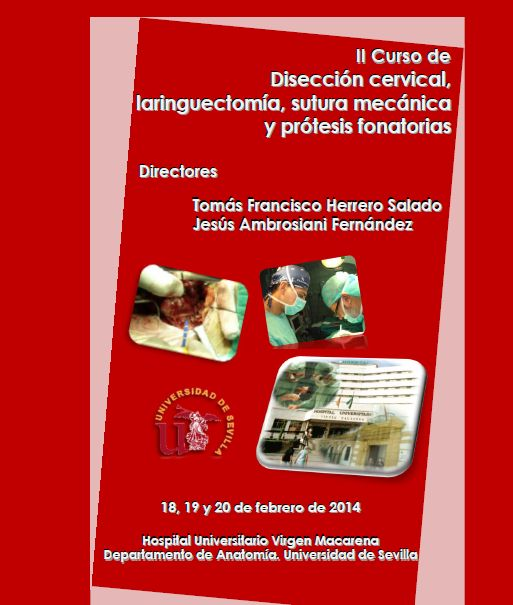 Los próximos 18, 19 y 20 de febrero de 2014 tendrá lugar el II Curso de Disección Cervical, Laringectomía, Sutura mecánica y Prótesis fonatorias patrocinado por JJP Hospitalaria y organizado por el Departamento de Anatomía de la Universidad de Sevilla y el Hospital Virgen Macarena de Sevilla.