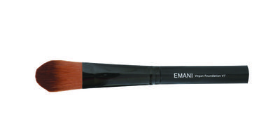 Emani V7 Liquid Foundation Brush. Application: Using paint stroke like motions, apply the foundation to the centre of face working outwards. Blend foundation into hairline with sponge. Recommended Skin Types: The Emani Vegan Brushes are recommended for all skin types. The gentle bristles provide perfect concealment for problematic skin and won't irritate even the most sensitive skin types.