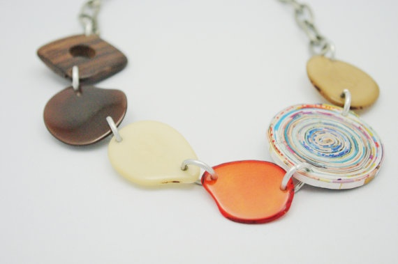 Tagua and Recycled Paper Necklace