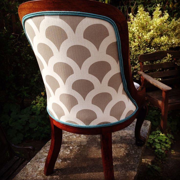 This is the back of a Victorian nursing chair that I traditionally upholstered. It's covered in Korla fabric and is finished in a teal trim! A beautiful unique chair for sale at £650.   Traditional upholstery uses hessian, horse hair and stitching to form a base. It lasts a lifetime, so you only need buy one chair and maybe replace the covers as fashion changes. It reduces waste, helps the environment and allows us to own a piece of craft history - pretty nifty if you ask me....