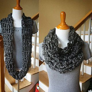 Pattern is for for an open weave lightweight infinity scarf which takes about an hour to make. It is made with bulky (weight category 5) yarn, but could be made with worsted weight yarn as well. It is so easy the instructions are included below.