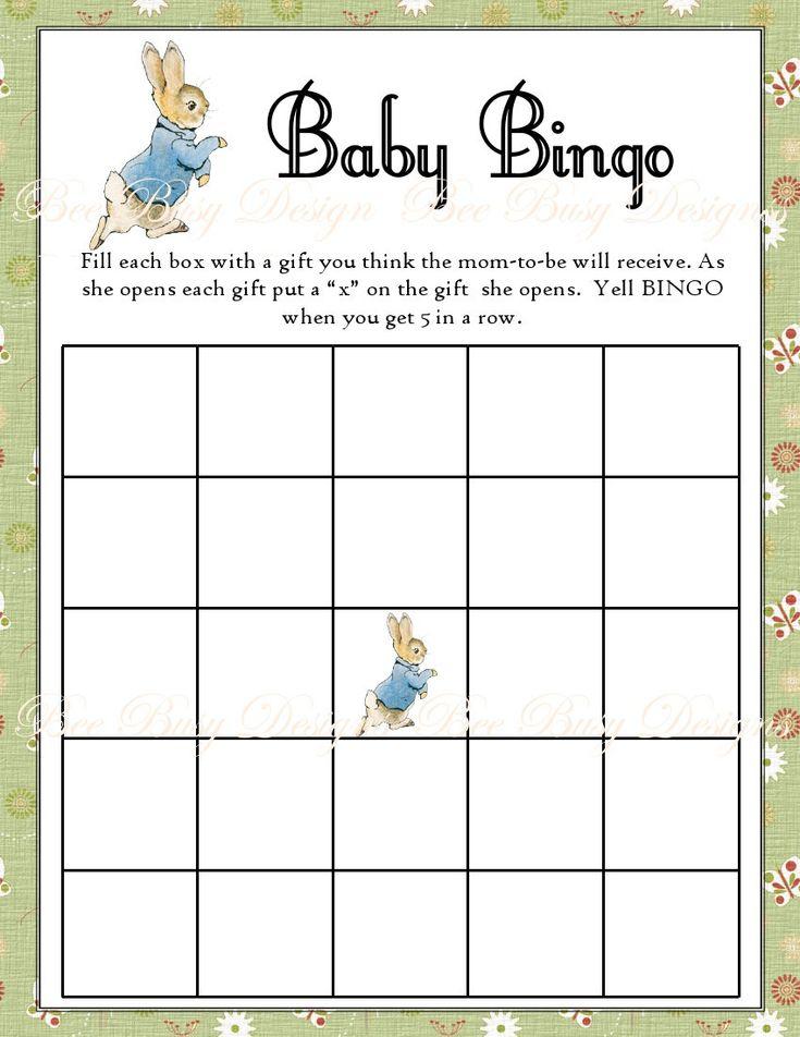 Printable Peter Rabbit Baby Shower Bingo Game