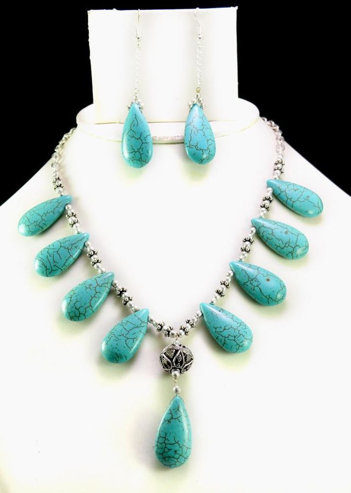 294ct Natural Semi Precious Blue Turquoise Designer Beads Necklace with Earrings #Handmade #Choker