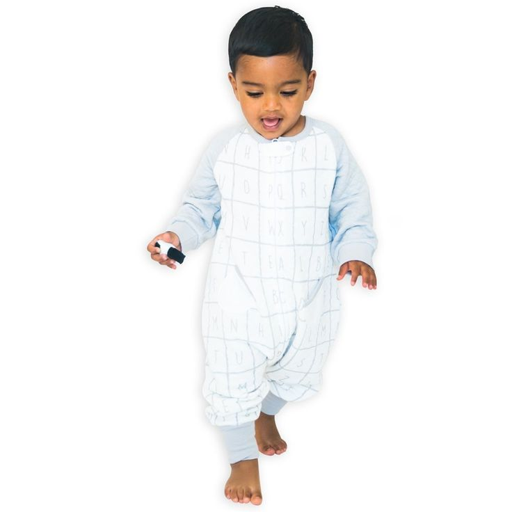 TEALBEE BABY: Dreamsie Softest Bamboo Sleepsuit with Feet for Walking Toddlers - Safe Warm Wearable Blanket for Babies (12m-2T, Alphabet)