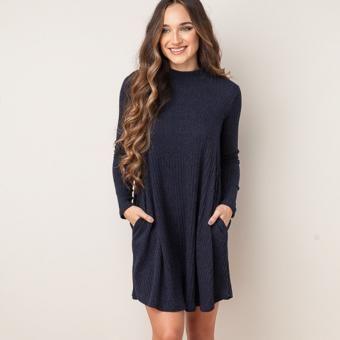 New Arrival Vestido Women Long Sleeve Casual Dress Fashion Style Azul Profundo