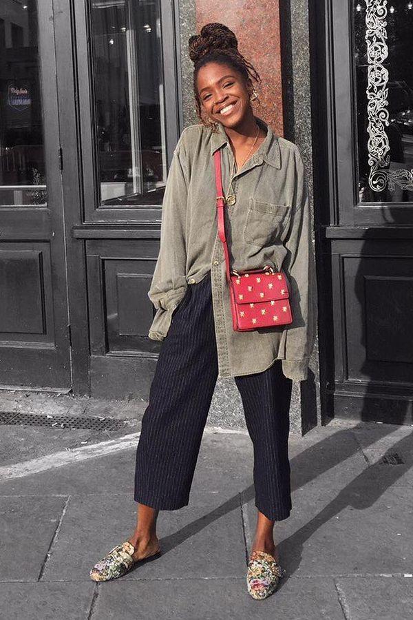 Calça culotte/pantacourt Camisa verde militar Mule