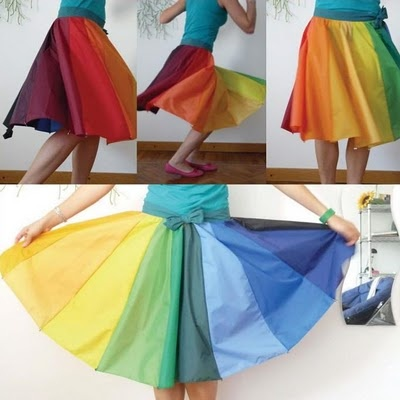 upcycle your old broken umbrella into a cool skirt, complete with the old umbrella's spokes. FANTASTIC-O!