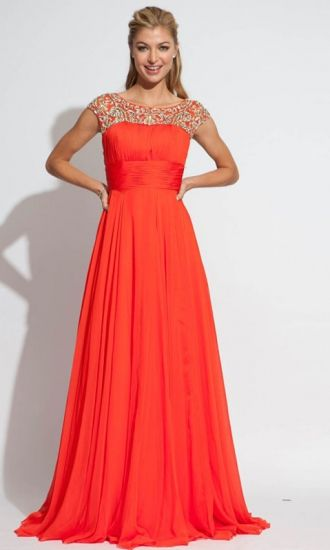 A-line Bateau Chiffon Formal Dresses/Long Evening Dresses with Beading FAU1404P800225