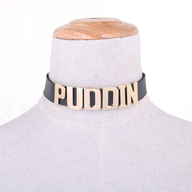 Harley Quinn Puddin Comando Suicida de Gargantilla Collar Collar de Gargantilla De Cuero de Halloween Cosplay de La Cultura Pop Carta Collar Bijoux