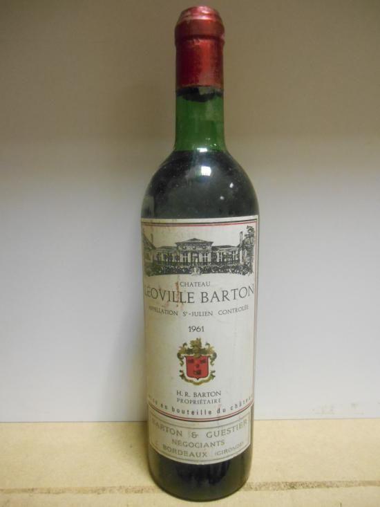 Sale W151215 Lot 112  Château Leoville Barton, St Julien 2eme Cru 1961, one bottle (chateau bottled, level very top shoulder); Château Fonbadet, Pauillac 1961, one bottle (English bottled, level very top shoulder). Removed from a college cellar (2)  - Cheffins