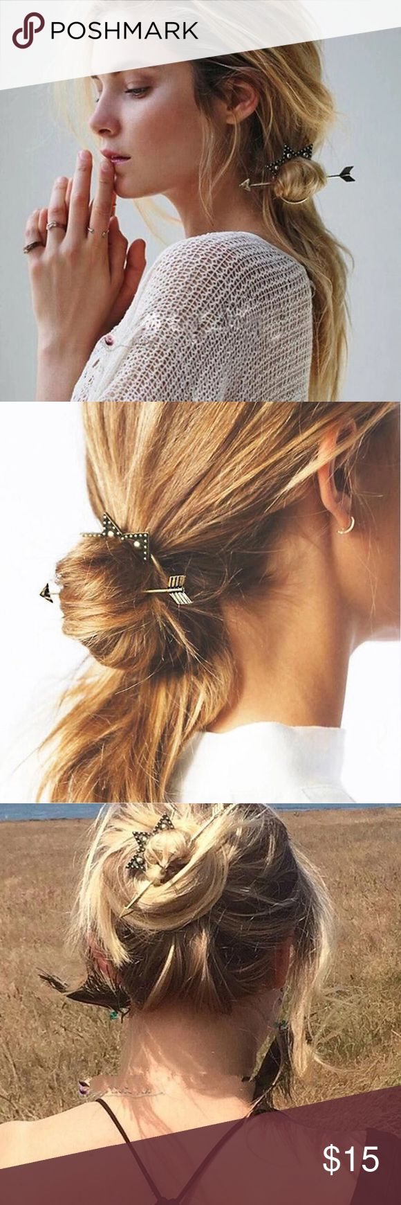 "Crown & Arrow Boho Bun Hair Pin Super cute bohemian arrow and crown Set  Arrow is about 5"" Long and Hoop is a little under  2"". Boutique Accessories Hair Accessories"