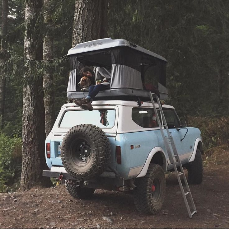 Nice combo   Scout with a rooftop tent via @forgeoverland by papawolfsupplyco