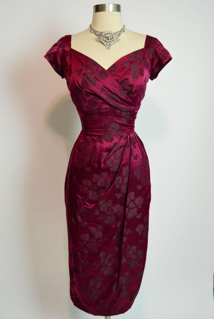 COUTURE LEE CLAIRE New York 1950s Burgundy Wine Silk Brocade Drape Wiggle Dress | eBay