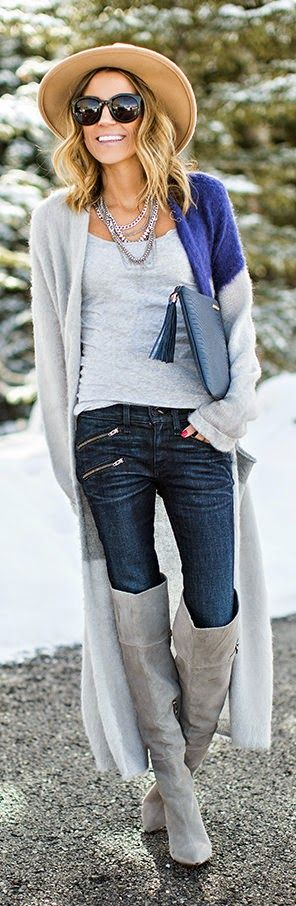 STYLING A LONG CARDIGAN - Blue and Grey Draped Cardigan with Grey Over-The-Knee Boots / Hello Fashion