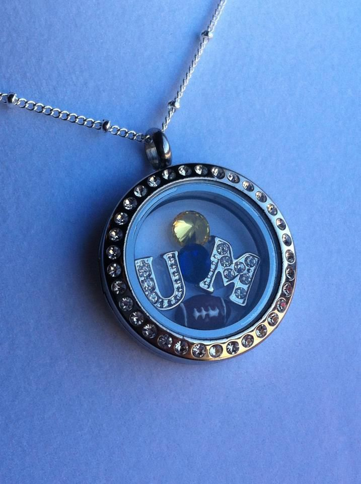University of Michigan inspired, Origami Owl locket, living locket, sports fan gift www.meghangaska.origamiowl.com