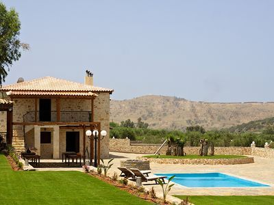 Rethymno villa rental - The pool and garden of the villa offer you peace of mind and body!