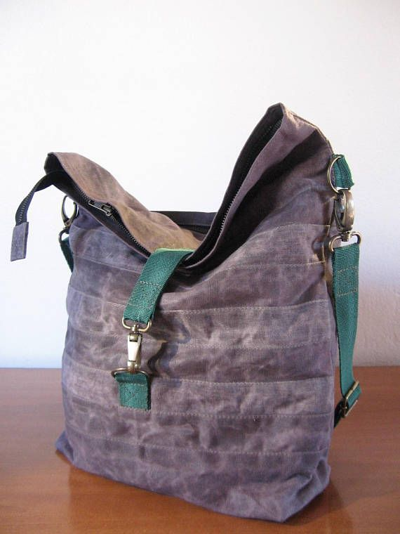 Beautiful Waxed Canvas Bag Messenger Bag Tote Diaper Bag Leather
