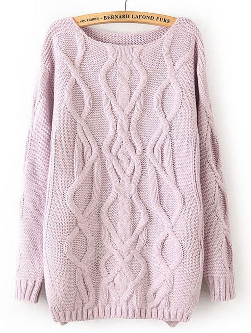 Light Purple Long Sleeve Cable Knit Pullover Sweater 32.95