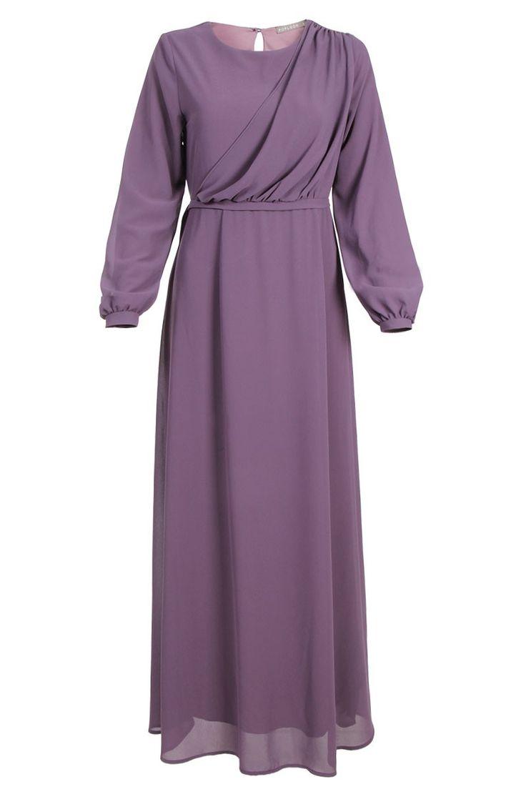 Samuela Drape Chiffon Maxi Dress - Greyish Purple