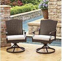 Member's Mark by Agio Heritage Swivel Dining Chairs with Sunbrella Fabric (2 Pack)