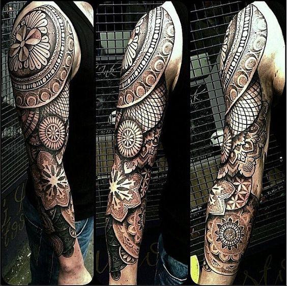 geometric sleeve tattoos for men   Geometric Full Sleeve Tattoo