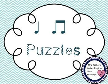 This FREE file includes 4 puzzles for piecing together Ta (quarter note) and Ti-Ti (eighth notes) songs/chants. Have your students piece together the puzzles and discover the mystery songs. Lots of fun and great rhythm practice!