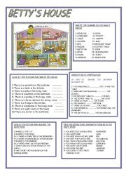 BETTYS HOUSE - comprises 5 simple exercises to help beginner learners of English to describe a house using words for rooms and furniture.