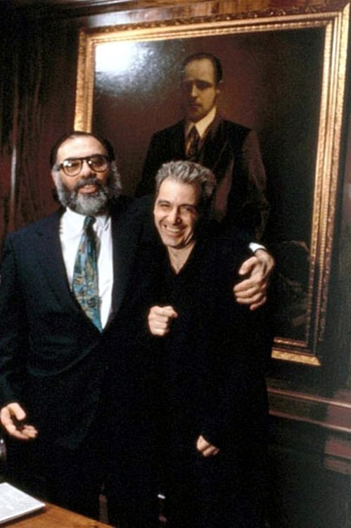 """Francis Coppola and Al Pacino on the set of """"The Godfather: Part III"""""""