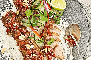 Slow cooked Chinese-style BBQ pork with Asian salad