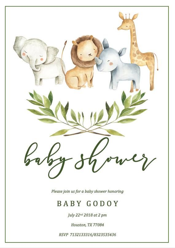 Safari Baby Shower Invitation Template Jungle Baby Shower
