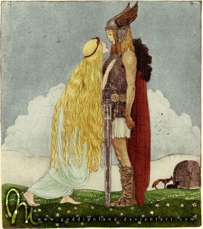 Freyja and Svipdag by ~GuddiPoland on deviantART (Original black and white drawing done by John Bauer. Colored by GuddiPoland)